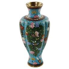 Antique Meiji Period Japanese Lobed Baluster Form Cloisonné Vase