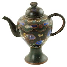 Antique Japanese Meiji Period Cloisonné Footed Miniature Teapot with Butterfly Motif
