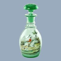 Antique Bohemian Glass Prussian Decanter with Polychrome Enamel Hunt Motif