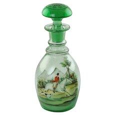 Antique Bohemian Glass Prussian Decanter with Polychrome Enamel Hunt Motif