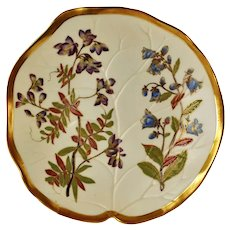Antique Royal Worcester Blush Ivory Gilded Leaf Form Plate Hand Painted