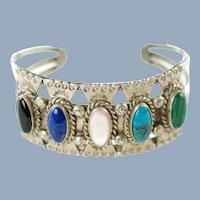 Vintage Signed Navajo Sterling Silver Jeweled Cuff Bracelet RMJ