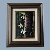 Vintage Robert Brandenburg Scratchboard with Watercolor Framed Original Artwork 'Penumbra'