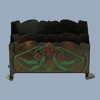 Antique Buffalo Art Crafts Shop Enameled Copper Metalwork Letter Rack with Scrolled Feet
