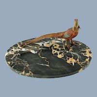 Antique Marble Pen Rest with Austrian Orientalist Cold Painted Bronze Golden Pheasant