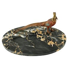 Antique Marble Pen Rest with Austrian Orientalist Cold Painted Bronze Golden Pheasant