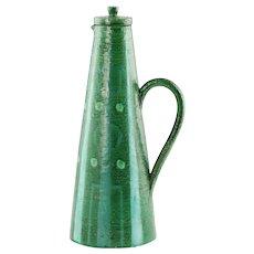 Vintage Jerk Werkmaster for Nittsjo Sweden Green and Blue Lidded Teapot Pitcher