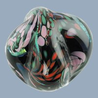 Large Vintage Rollin Karg Abstract Dichroic Art Glass Tabletop Sculpture