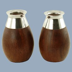 Vintage Spanish Sterling Silver and Teak Vases Set of Two