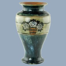 Antique Royal Doulton England Lambeth Ceramic Vase Rose Motif Arts and Crafts