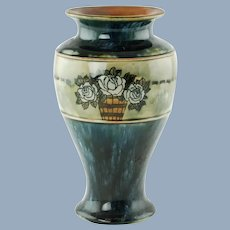 Antique Royal Doulton England Lambeth Ceramic Vase Rose Motif