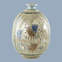 """Vintage John R. Nartker Ceramic 10.5"""" Vase MCM"""
