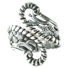 Vintage Sterling Silver Clamper Cuff Bracelet with Cactus and Rope Motif