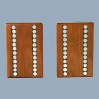 Vintage Gordon and Jane Martz Walnut and Ceramic Tile Inlay Bookends Dot Motif