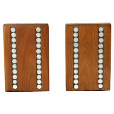Vintage Gordon and Jane Martz for Marshall Studios Walnut and Ceramic Tile Inlay Bookends Dot Motif