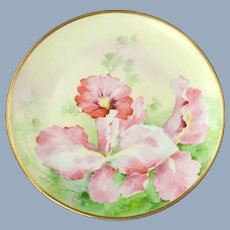 Antique Richard Ginori Hand Painted Cabinet Plate with Iris Motif