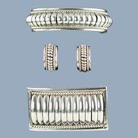 Vintage Thomas Charley Sterling Silver Water Bead Cuff Bracelet, Hoop Earrings and Brooch