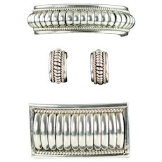 Vintage Thomas Charley Sterling Silver Water Bead Demi Parure Cuff Bracelet, Hoop Earrings and Brooch