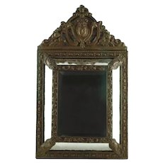 Antique Napoleon III Beveled Glass Cushion Mirror with Repoussé Brass Frame