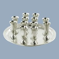 Vintage Randahl Matched Sterling Silver Cordial Set and Round Serving Tray with Twelve Cordials