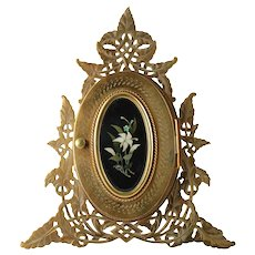 Antique 19th Century Victorian Reticulated Etched Brass Picture Frame with Italian Pietra Dura Plaque