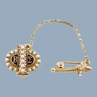 Vintage Beta Sigma Phi 10k Yellow Gold Pearl Enameled Sorority Pin Badge and Torch