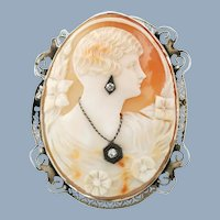 Large Vintage 14K Gold Diamond and Shell Cameo Habille Brooch Pendant
