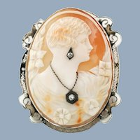 Vintage 14K Gold Diamond and Shell Cameo Habille Brooch Pendant