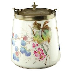 Antique English Porcelain Biscuit Barrel with Swing Handle and Etched Lid Blackberry Motif