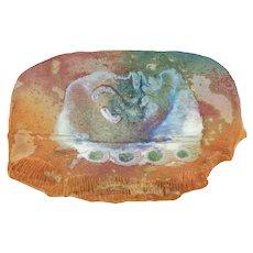 Vintage Tony Evans Pastel Raku Studio Art Pottery Abstract Platter Fine Art Ceramics