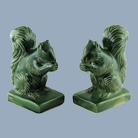 Vintage Van Briggle Pottery Squirrel Bookends in Green Glaze