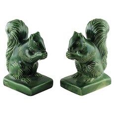 Vintage Van Briggle Pottery Squirrel Bookends in Green Glaze