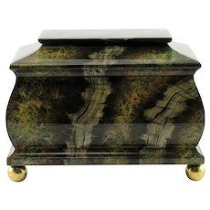 Large Vintage Maitland Smith Hand Painted Marbleized Lidded Tea Caddy Box