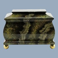 Large Vintage Maitland Smith Hand Painted Marbleized Lidded Tea Caddy Box
