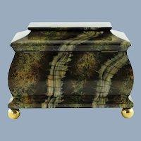 Large Vintage Maitland Smith Hand Painted Marbleized Lidded Tea Caddy Box with Ball Feet