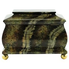 Large Vintage Maitland Smith Hand Painted Marbleized Lidded Tea Caddy Box with Ball Feet