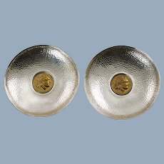 Vintage Greek Planished Sterling Silver Dishes with Vermeil Alexander the Great Coin Motif Relief Medallions