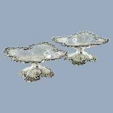 Antique Sterling Silver Reticulated Tazzas by Roger Williams Silver Company Matched Pair Not Monogrammed