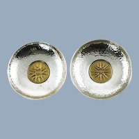 Vintage Hand Hammered Sterling Silver Dishes with Inset Embossed Macedonian Star Motif Medallions