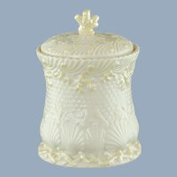 Vintage Belleek Irish Parian China Lidded Biscuit Jar in the New Shell Pattern