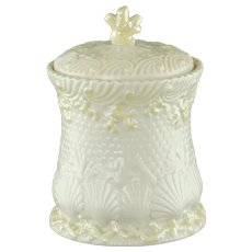Vintage Belleek Irish Parian China Lidded Biscuit Jar in the New Shell Pattern