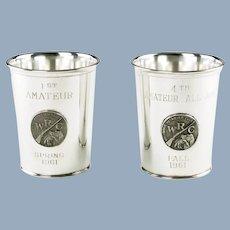 Vintage Webster Sterling Silver Applique Julep Beaker Trophies - Sporting Group Amateur Class Field Trials