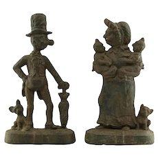 Vintage English Figural Cast Iron Doorstops Mr. & Mrs. Ally Sloper