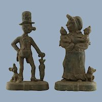 Vintage English Figural Cast Iron Doorstops Mr. & Mrs. Ally Sloper