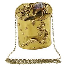 Vintage Dutra's Brazil Hand Made Brutalist Brass Evening Bag with Raw Amethyst Accent