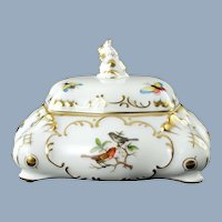 Vintage Herend Porcelain Rothschild Bird Bonbonnerie Box with Dolphin Finial