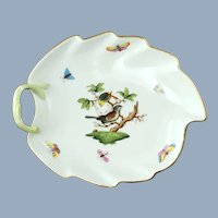 Vintage Herend Leaf Shaped Rothschild Bird Left Handled Dish with Gilt Trim 203 RO