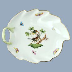 Vintage Herend Leaf Shaped Rothschild Bird Left Handled Dish with Gilt Trim 203 RO