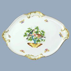 Large Vintage Herend Porcelain Rothschild Bird Tray with Gilded Rocaille Detail
