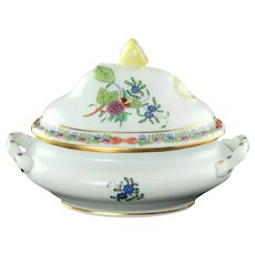 Vintage Herend Indian Basket Miniature Double Handled Tureen Multicolored Floral Motif with Lemon Finial 6017/FDN